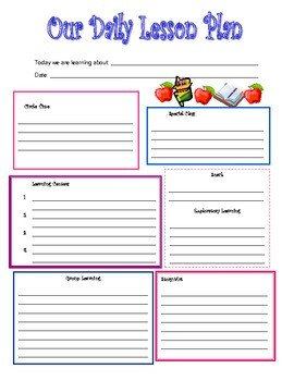 Preschool Daily Lesson Plan Template Preschool Daily Lesson Plan Template by Kari Lostocco