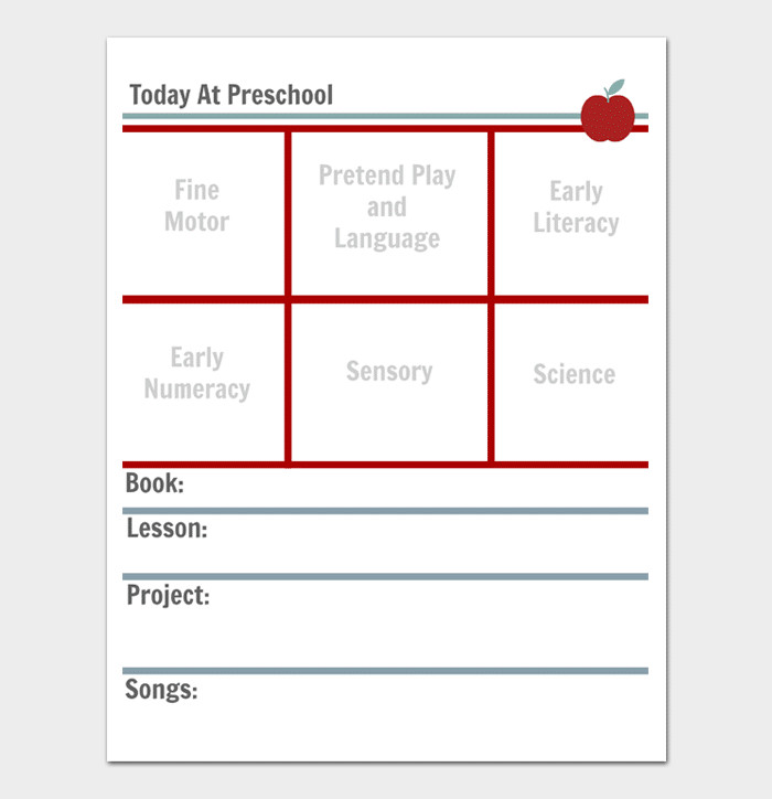 Preschool Daily Lesson Plan Template Preschool Lesson Plan Template Daily Weekly Monthly