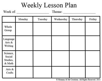 Preschool Daily Lesson Plan Template Weekly Preschool Lesson Plan Template by Mommy and Me