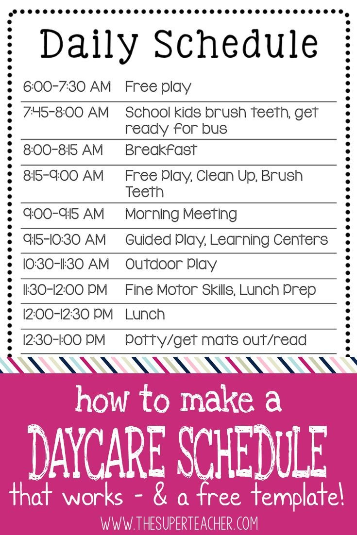 Preschool Daily Schedule Template 25 Best Daycare Schedule Ideas On Pinterest