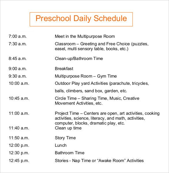 Preschool Daily Schedule Template Daily Schedule Template 37 Free Word Excel Pdf