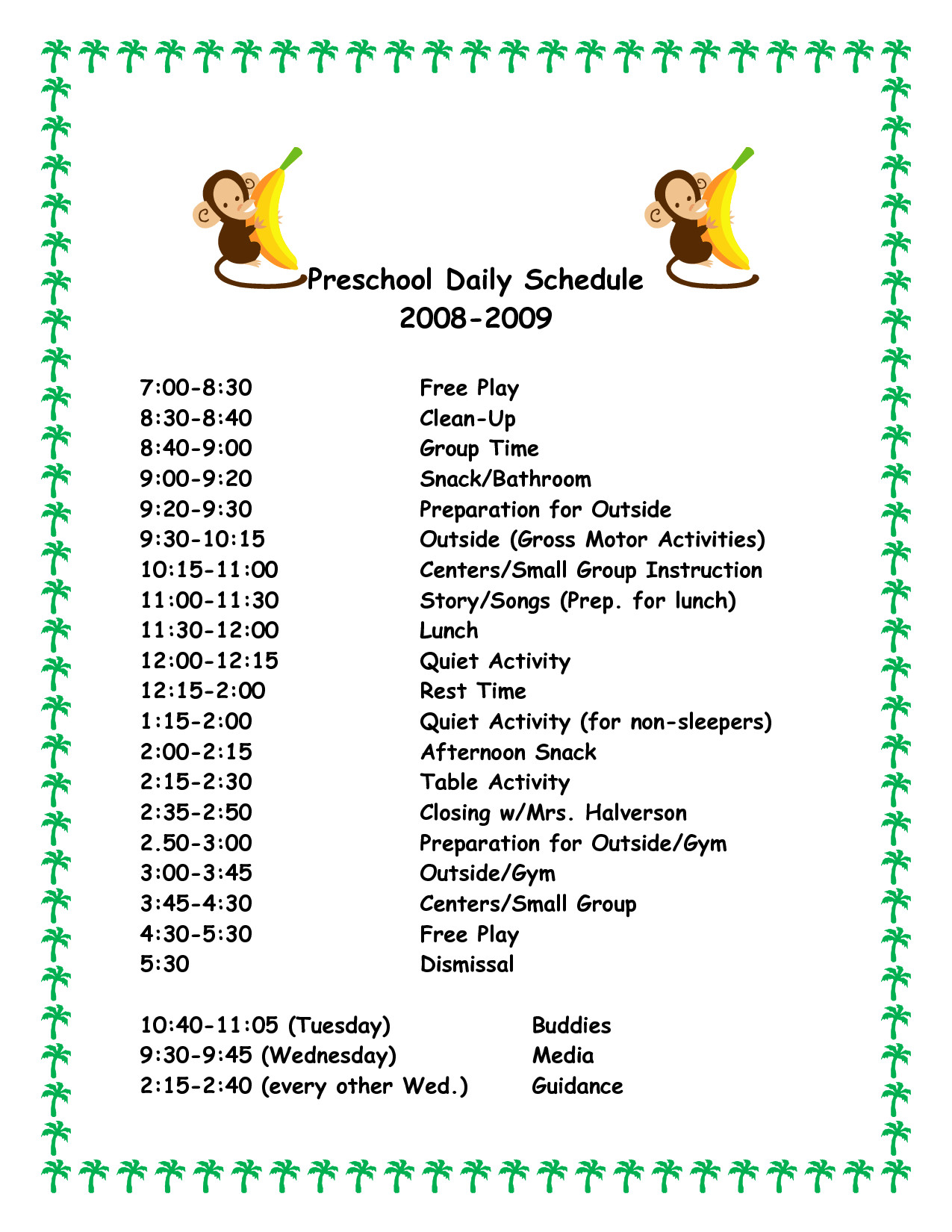Preschool Daily Schedule Template Daily Schedule Template for Preschool