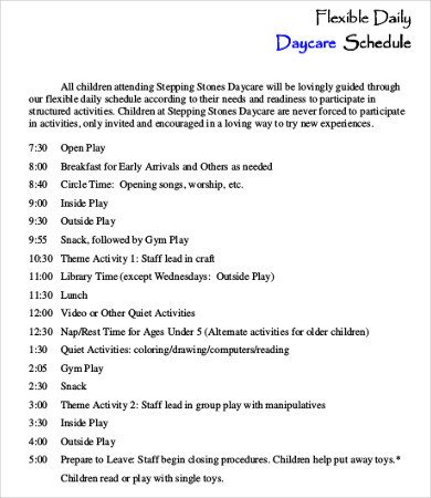 Preschool Daily Schedule Template Daycare Schedule Template 7 Free Word Pdf format