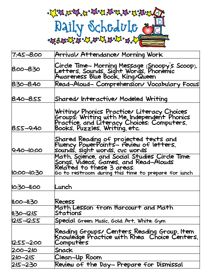 Preschool Daily Schedule Template Kindergarten Celebration Daily Schedule