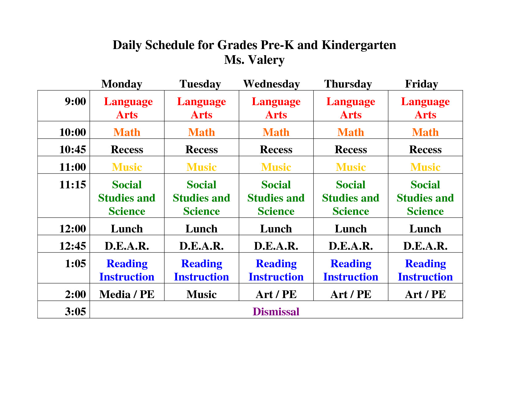 Preschool Daily Schedule Template Kindergarten Daily Schedule Template