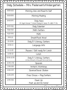 Preschool Daily Schedule Template One Way to Do A Kindergarten Schedule
