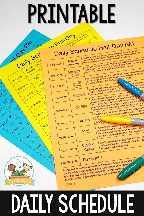 Preschool Daily Schedule Template Preschool Daily Schedule and Visual Schedules