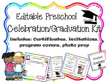 Preschool Graduation Programs Template Editable Preschool Graduation Celebration Printables by