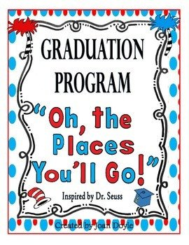 "Preschool Graduation Programs Template Graduation Celebration Program ""oh the Places You Ll Go"