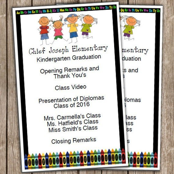 Preschool Graduation Programs Template Kindergarten Graduation Half Sheet Blank Editable Program