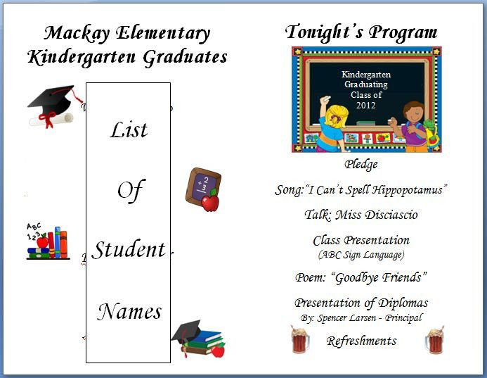 Preschool Graduation Programs Template Kindergarten Graduation Program