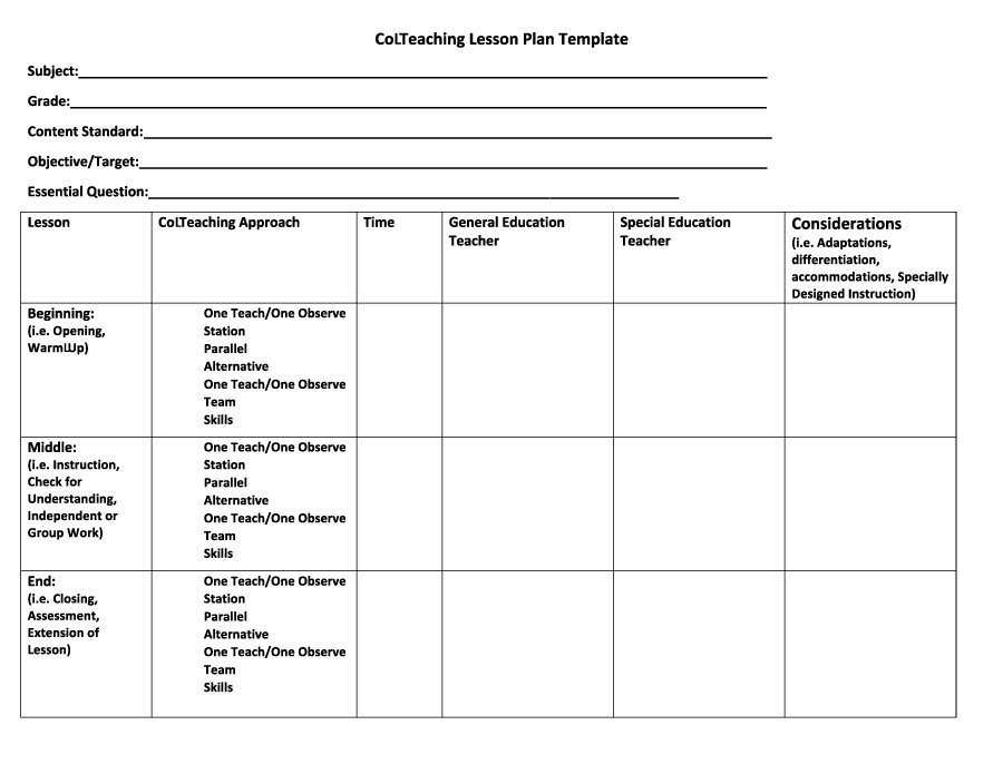 Preschool Lesson Plans Template 44 Free Lesson Plan Templates [ Mon Core Preschool Weekly]