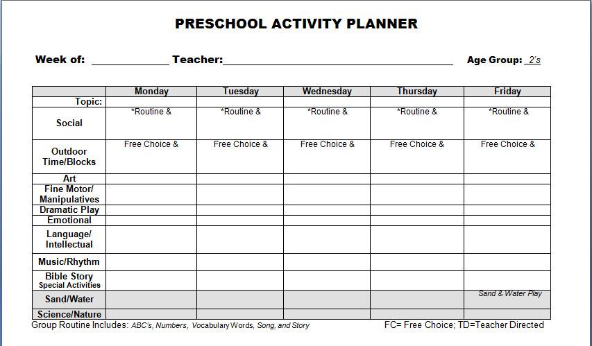 Preschool Lesson Plans Template Preschool Lesson Plan Template Word Templates
