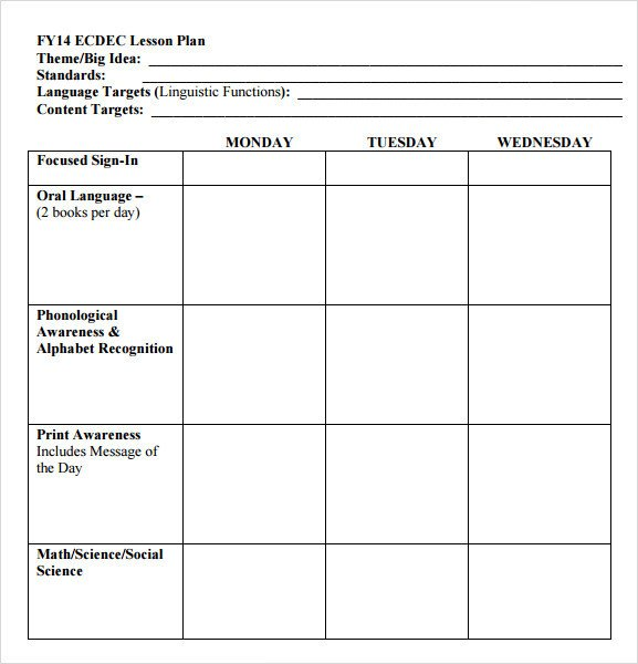 Preschool Lesson Plans Template Sample Preschool Lesson Plan 10 Pdf Word formats