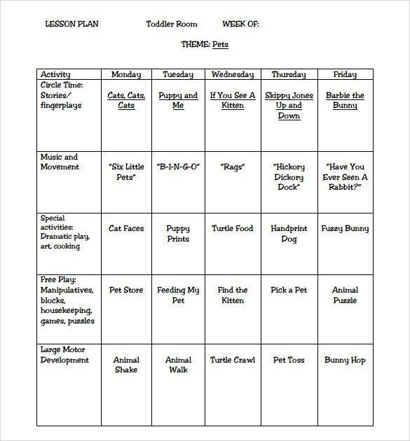 Preschool Lesson Plans Template Sample toddler Lesson Plan 9 Example format