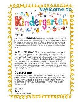 Preschool Welcome Letter Template Kindergarten Wel E Letter Editable by Kindly K