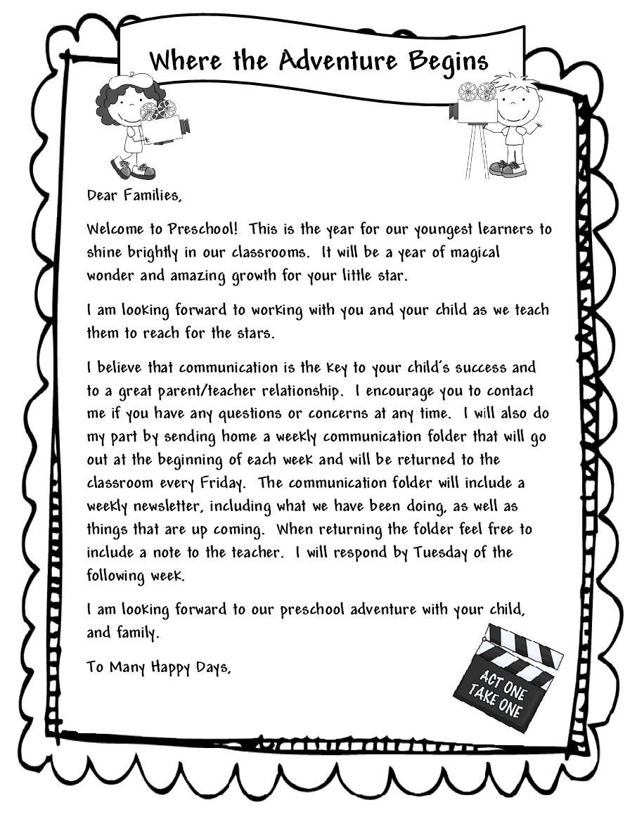 Preschool Welcome Letter Template Learning and Teaching with Preschoolers Wel E Parents