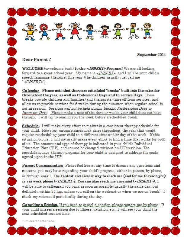 Preschool Welcome Letter Template Let S Talk Speech and Language Freebie Parent Wel E