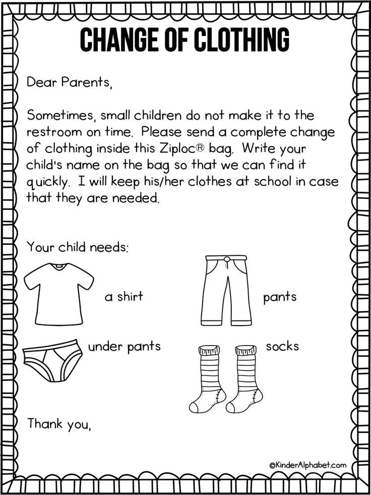 Preschool Welcome Letter Template Parent Letter for Change Of Clothing Free From
