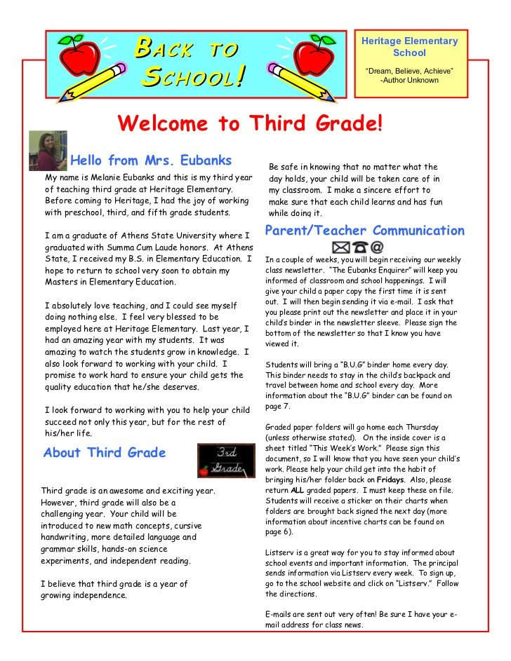 Preschool Welcome Letter Template Parent Letter