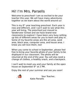 Preschool Welcome Letter Template Preschool Wel E Letter by to Teach their Own