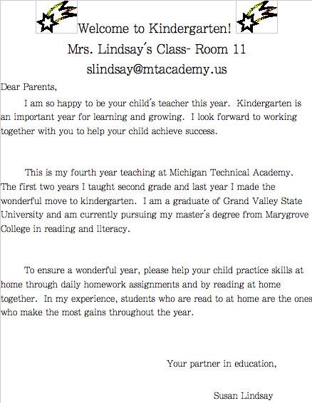 Preschool Welcome Letter Template Preschool Wel E Letter Template