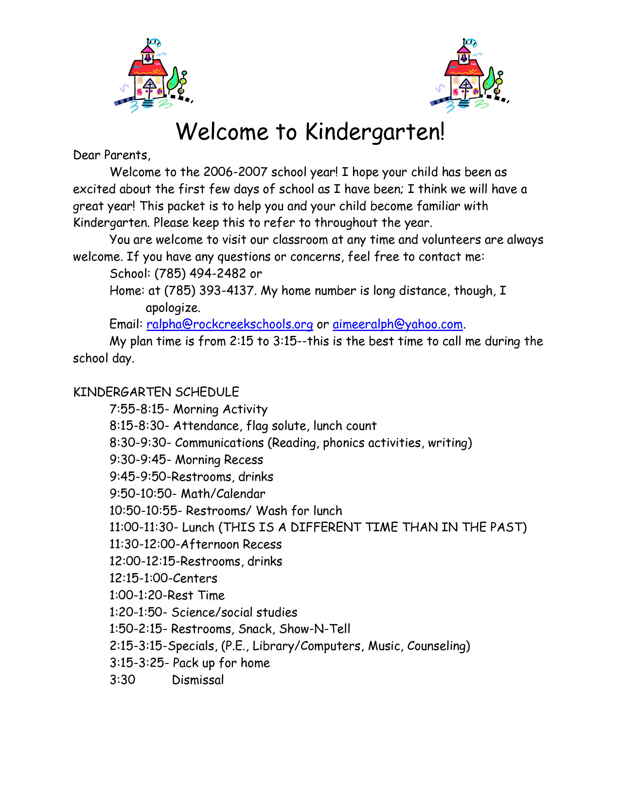 Preschool Welcome Letter Template Sample Preschool Wel E Letter to Parents
