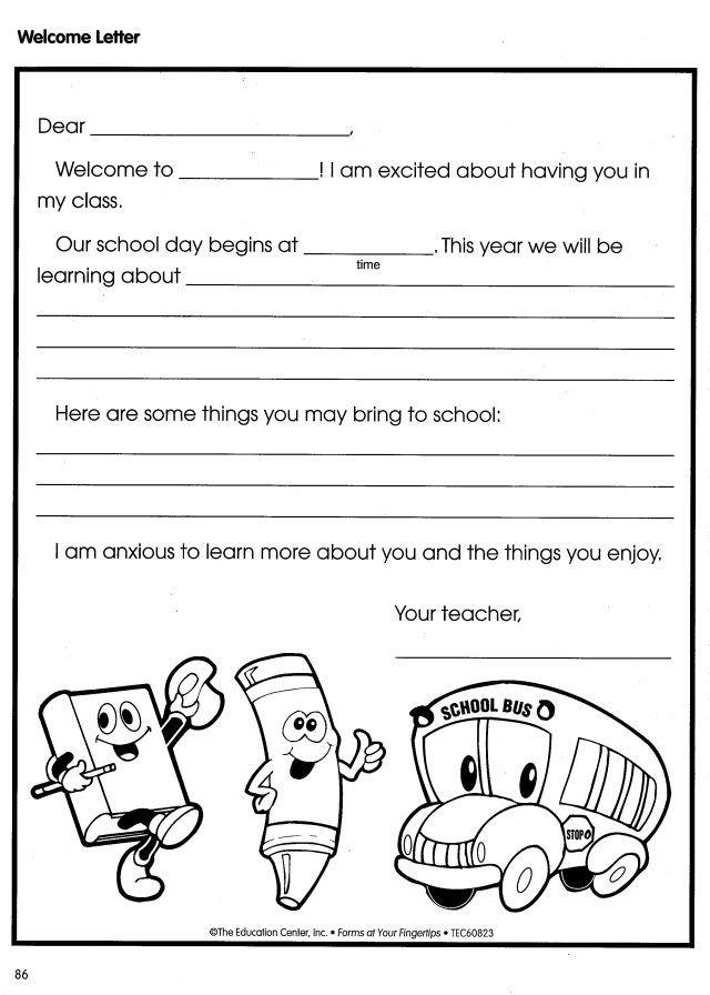 Preschool Welcome Letter Template Wel E Letter Back to School Pinterest