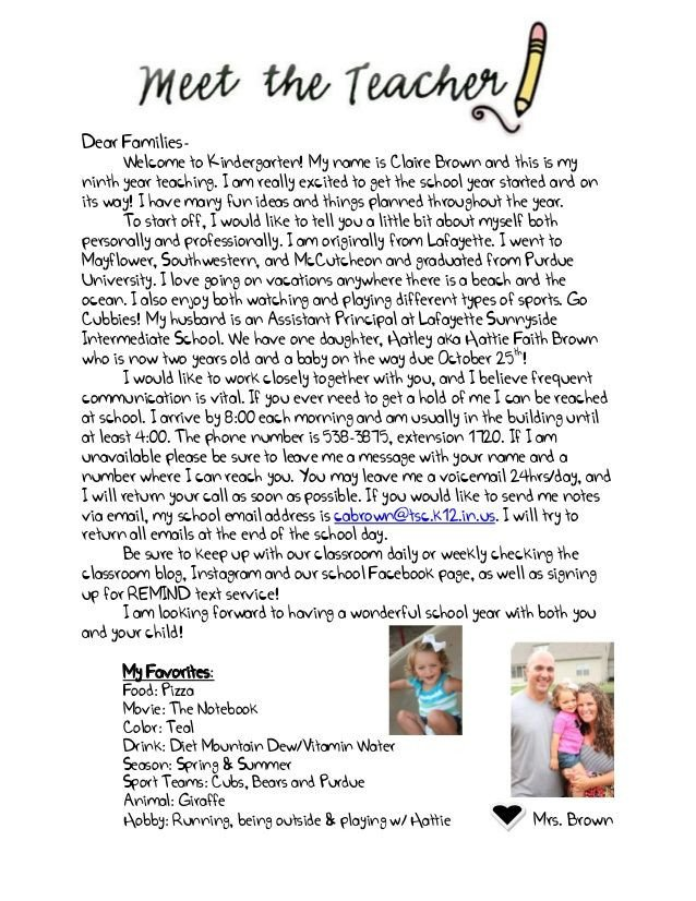 Preschool Welcome Letter Template Wel E Letter to Parents From English Teacher Google