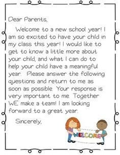 Preschool Welcome Letter Template Wel E Packet Open House forms