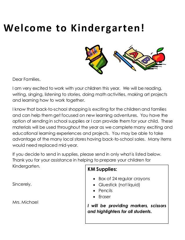 Preschool Welcome Letter Template Wel E to Kindergarten Dear Families I Am Very Excited