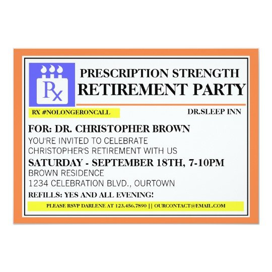 Prescription Bottle Label Template Fun Prescription Label Retirement Invitations