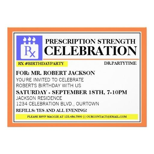 Prescription Bottle Label Template Funny Prescription Label Party Invitations