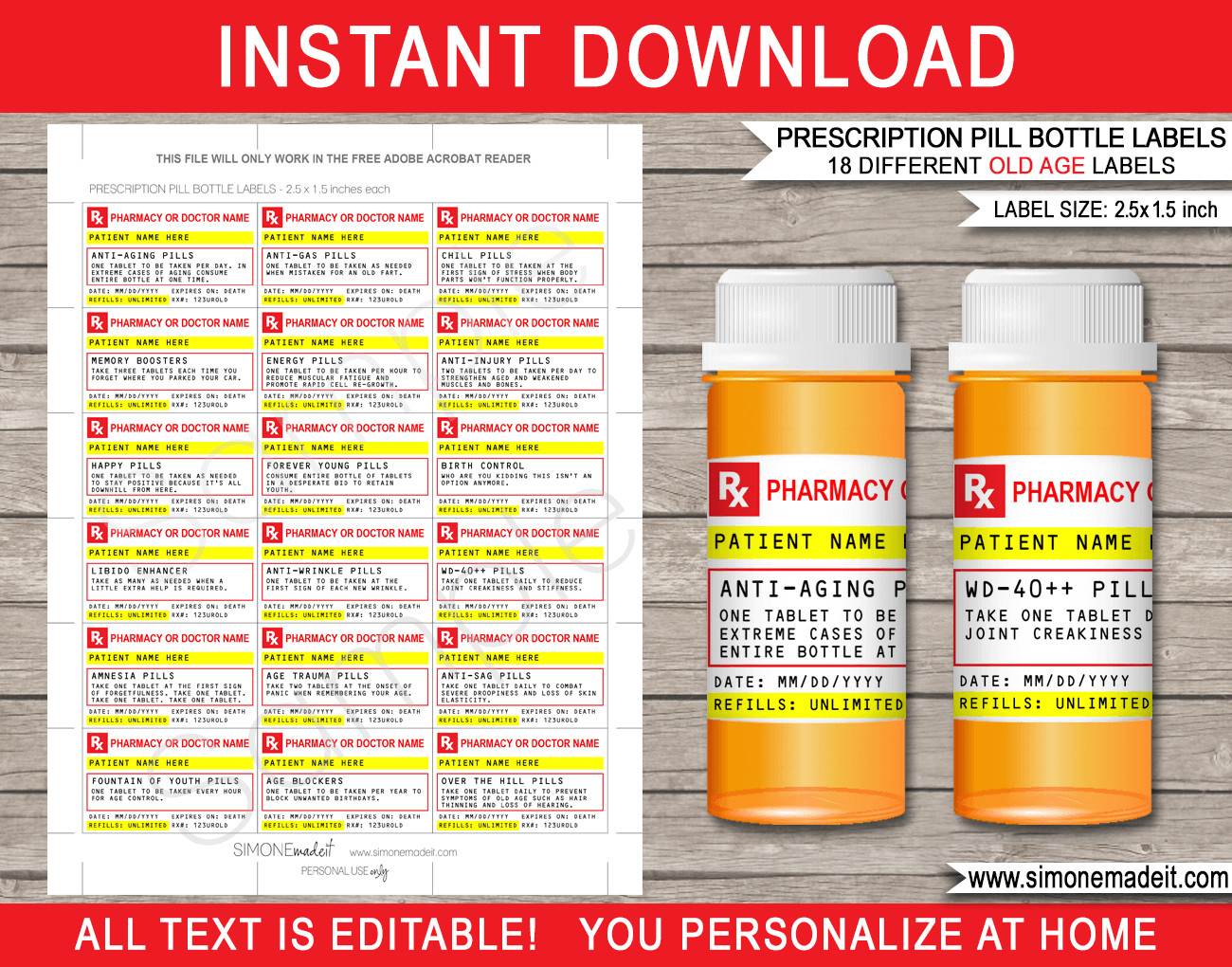 Prescription Bottle Label Template Old Age Prescription Pill Bottle Labels Gag Gift