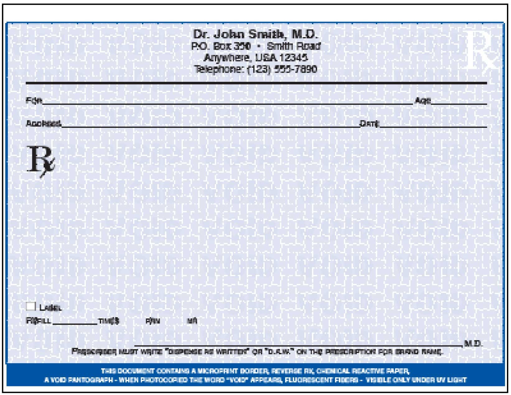 Prescription Pad Template Microsoft Word October 2014