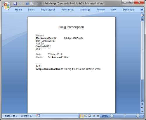 Prescription Template Microsoft Word Print or Export Prescriptions