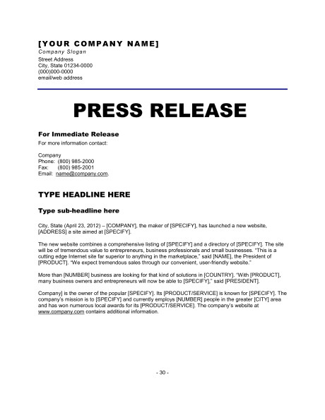 Press Release Template Word 6 Press Release Templates Excel Pdf formats