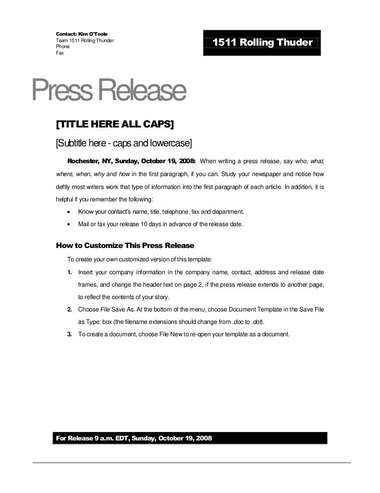 Press Release Template Word Rolling Thunder Press Release Template