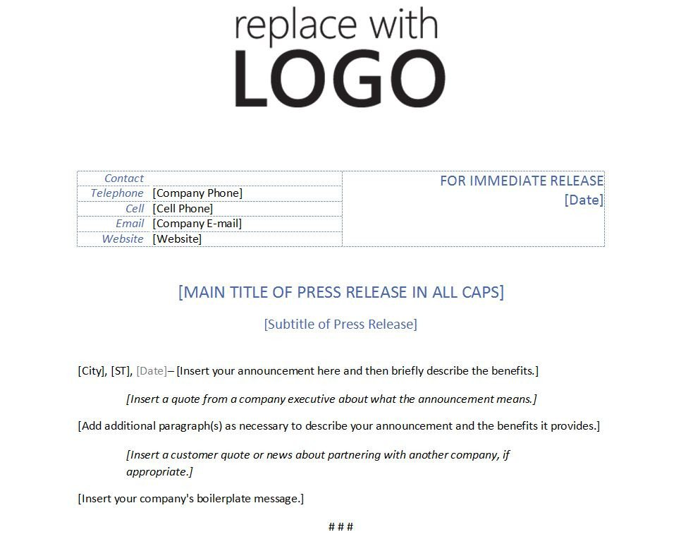 Press Release Template Word Template for Press Release