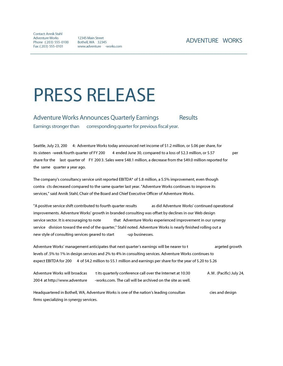 Press Release Templates Word 47 Free Press Release format Templates Examples & Samples
