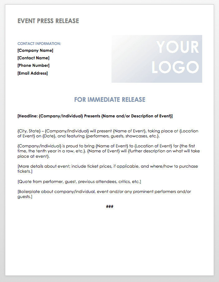 Press Release Templates Word Free Press Release Templates