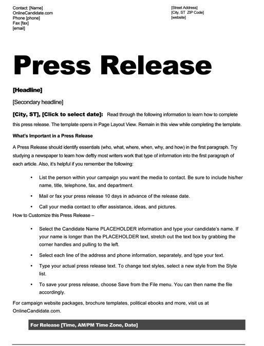Press Release Templates Word Political Print Templates – Red White and Blue theme