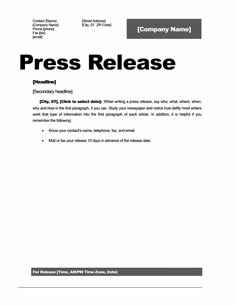 Press Release Templates Word Press Release Template 15 Free Samples Ms Word Docs