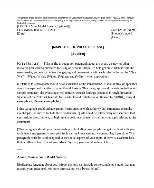 Press Release Templates Word Press Release Template 21 Free Word Pdf Document