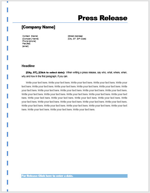 Press Release Templates Word Press Release Template – Microsoft Word Templates