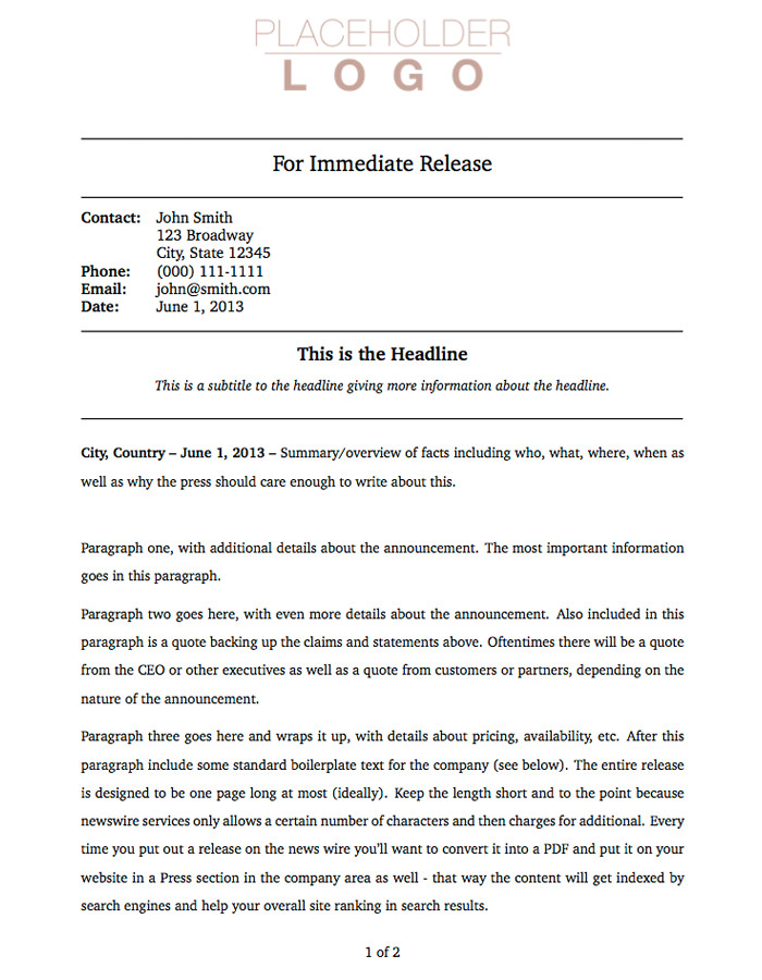 Press Release Templates Word Press Release Template