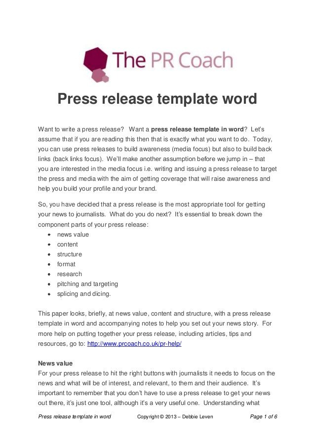 Press Release Templates Word Press Release Template Word