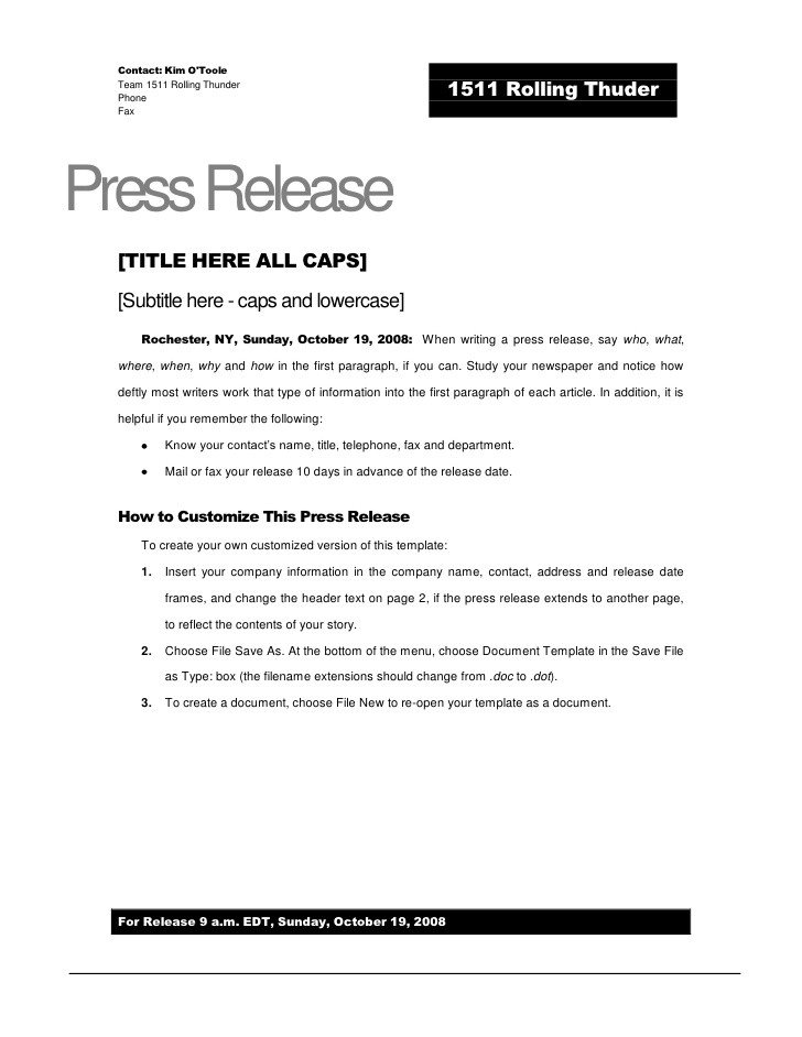 Press Release Templates Word Rolling Thunder Press Release Template