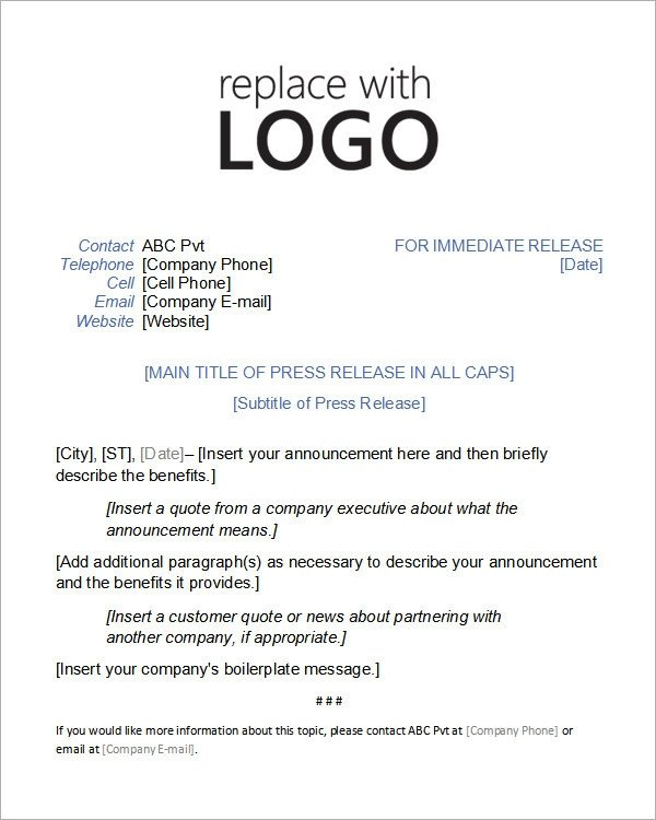 Press Release Templates Word Sample Press Release Templates 7 Free Documents