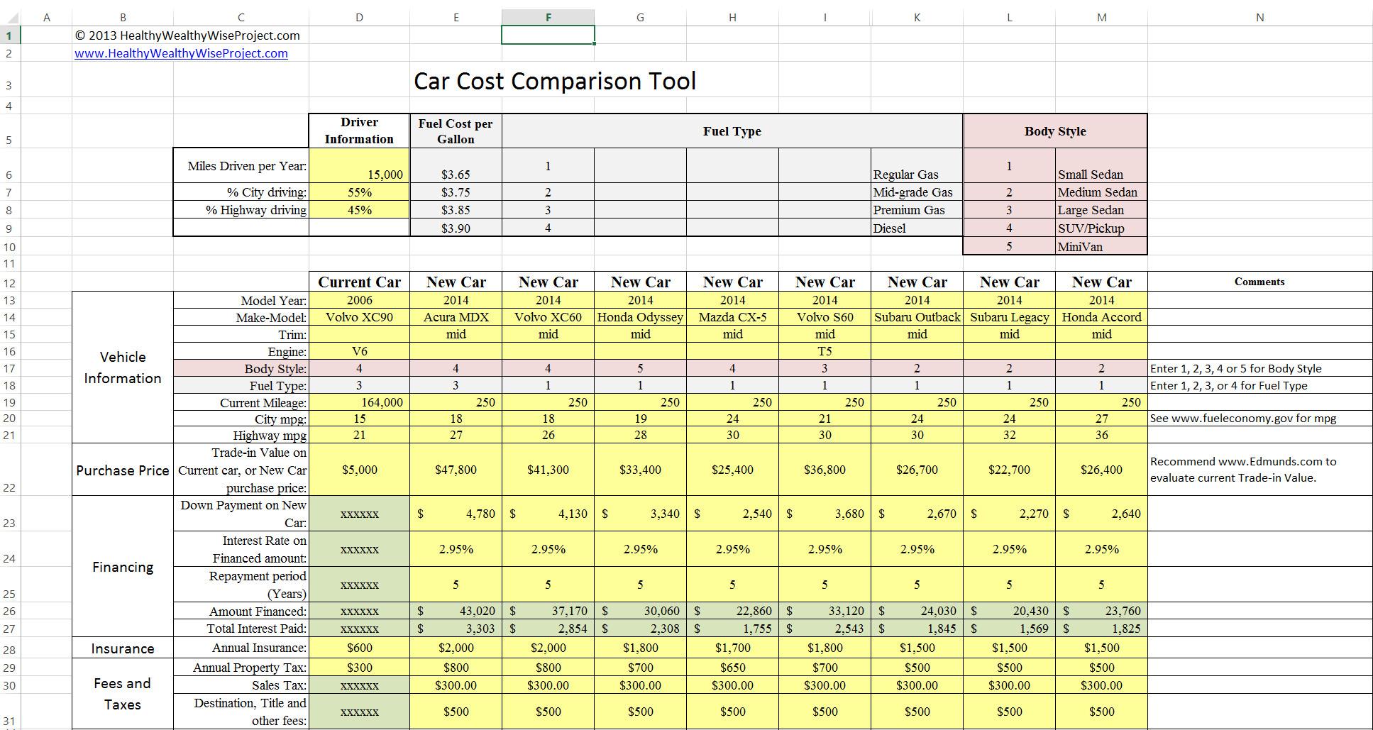 Price Comparison Excel Template Car Cost Parison tool for Excel